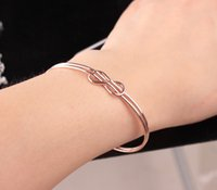 Silver Tone Infinity Cuff Open Bangle Bracelet Elegant Bowknot Double Wire Bangle For Girl Lady Gift Summer ps1324