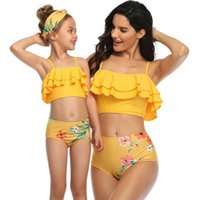 Family Matching Outfits 2021 Mother Daughter Bikini Sandy Beach Swimming Suit Summer Sexy Vacation Beachwear Clothing Sets