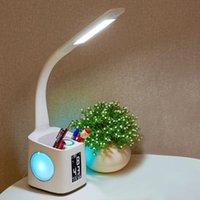 새로운 LED 책상 램프 USB 충전 야간 조명 알람 시계 온도계 달력 3 수준 촬영 팬 홀더와 펜 홀더
