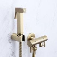 2021 Neue Toilette Handhelt Shattaf Bidet Sprayer Kopf gebürstet Gold Wasserhahn Muslimische Dusche Ducha Higienica Analreiniger Z02M