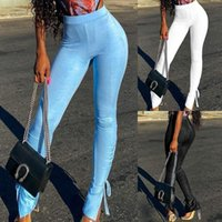 Designer Pants Clothing Flare Womens Pants Summer Slim Split Sports Trousers Fashion Casual Women 2020 Solid Color