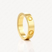 Stainless steel male and female love wedding rings women newly-married couple gift Eternal promise 18K Gold Plated Ring for men Accessories with Jewelry Pouches