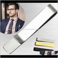 Зажим для галстуки из нержавеющей стали Бары Золотой тонкий стеклянный галстук