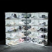 Sound Control Led Shoe Box Shoe Box Sneakers Scatola di immagazzinaggio Antiossidazione Organizzatore Scarpa Parete Acrilico Scarpe da parete Collezione Display Display 210309