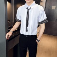 Casual Slim Fit Dress Shirt Summer Camisa Social Masculina Fiesta de manga corta Camisa de fiesta de rayas Splicing TUXEDO SHIRTS HOMBRES