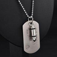Pendentif Colliers Haute Qualité Hommes Militaire Armée Militaire Charme Tags Chien Single Embossé Chaîne Collier Bijoux Cadeau