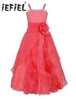 Girl's Dresses Watermelon Girls Floor Tea Length Embroidered Flower Party Princess Dress Bridesmaid Wedding Children Tutu Size 4-14Y