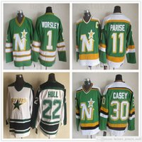 Vintage CCM Estrelas Jersey Hóquei 9 Mike Modano 20 Dino Ciccarelli 1 Gump Worsley 22 Brett Hull 30 Jon Casey 11 Parise Jerseys