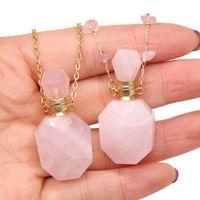 Pendant Necklaces NaturalSemi-precious Stone Perfume Bottle Necklace Polygonal Shape Essential Oil Diffuser Jewelry Gift