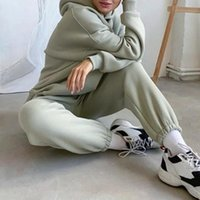 Women's Two Piece Pants 2021 Autumn Women Hoodies And Sweatpants White Tracksuits Female Solid Color Pullovers Jacket Lounge Wear Casual Sui