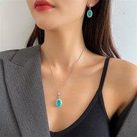Retro Kristall Quaste Halskette Set Luxus Weizen Schmuck Sets Frauen Designer Armbänder Halsketten Charm Ohrring Studs 210 R2