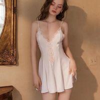 Women's Sleepwear QWEEK Silk Nightgown Women Sexy Dresses Summer 2021 Ladies Lace Nightwear Button French Elegant Homewear Mini Skirts