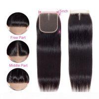Девственные бразильские волосы кружево закрытие 5x5 прямой волна тела 8-20 дюймов швейцарское кружевное закрытие человеческих волос