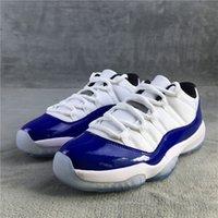 Jumpman 11 Низкие Реальные Углеродные Волокно Мужские Баскетбольные Обувь 2021 Белый Синий Concord 11s Модные кроссовки