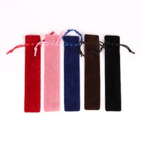 Creative Design Plush Velvet Pen Pouch Holder Single Pencil Bag Pen Case With Rope Office School Writing Supplies Student Christmas Gift DH8576