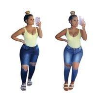 Dames jeans Skinny Hoge taille Denim Ripped Distressed Women Fashion Herfst Streetwear Potlood Pants Cut Out Pocket Broeken