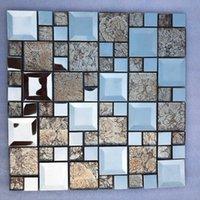 壁紙3 dシルバーステンレス鋼金属ゴールデンフォイルガラスモザイクタイル、キッチンバックスプラッシュシャワーウエストラインの壁ステッカー