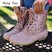 Boots Rainboots Women Bling Ankle Duck Waterproof Non-slip Fashion Female Flat Outdoor Platform Lace Up Plus Size 35-43