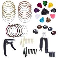 Treinamento de golfe AIDS 34 Kit de acessórios de guitarra de PCS incluindo picaretas, capo, cordas acústicas, 3 em beantro, pinos de ponte, 6 ossos de corda
