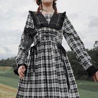 Qweek Gothic Lolita платье Goth Платье платье готический стиль Kawaii Lolita Cute MIDI платье Mall Goth Gothic аксессуары MORI Girl 210304