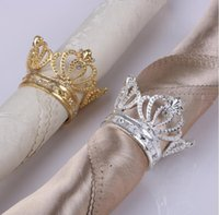 NEWCELLOWN PANKIN Bague Couronnes en métal Forme avec imitation Porte-serviettes de diamant pour la décoration de table de mariage à domicile CCA6852
