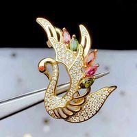 Joyas de Colife 925 Swan 5 piezas Turmalina natural de la moda broche de plata regalo para mujer