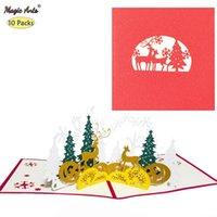 10 pack Feliz Natal animais floresta pop-up férias com envelope ano novo xmas cartões presentes feitos à mão