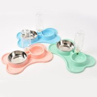 Cat Beds & Furniture Pet Dog Automatic Drinking Water Double Bowl Stainless Steel Feeding Bottle Tray