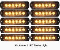 10 STÜCKE Bernsteiner Notfall-Blitzlichter 6-LED-Strobe-Warnung 6-SMD-blinkendes Licht VORSICHT-Bau-Lichtstange Van Off Road-Fahrzeug ATV SUV