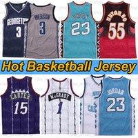 NCAA Kuzey Carolina Tar topuklu 23 Michael Jersey Tracy 1 McGrady Georgetown Hoyas 3 Vince 15 Carter Retro Basketbol Formaları