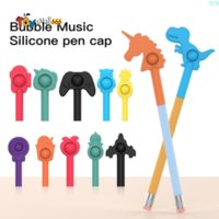 DHL Free Press Bubble Pen Cap Decompression Toys Silicone Push Pop Simple Dimple Squeeze Fidget Stationery Relieve Stress for Student Adult Children