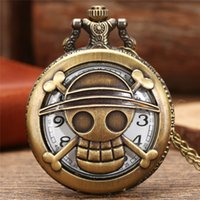 Vintage Hollow Out One Piece Design Pocket Watch Anime Cosplay Bronze Quartz Watches Necklace Chain for Men Women Gift