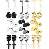 Stud 15 Pairs Of Stainless Steel Earrings Set Men's Women's Cool Huggie Ring Pierced Punk Style Black Gold