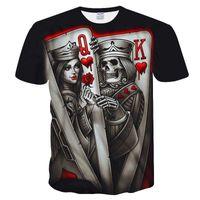 Nuevo Skull Poker Casual Impreso Camiseta 3D Hombres Manga corta Tee Shirts Homme Black Design Tee Tops Tops Masculino de verano Tops de gota