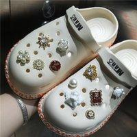 Marka Ayakkabı Tasarımcı Croc Charms Bling Rhinestone Jibz Kız Hediye Tıkanma Dekorasyonu Metal Aksesuarları Için