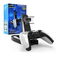 Suporte de carregamento de montagem de montagem de carregador duplo para o controlador sem fio Gamepad PS5 com caixa de varejo