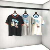 2021 유럽 최신 봄과 여름 캐주얼 스포츠 여성의 티셔츠 패션 이탈리아 사진 플래시 오리 인쇄 백인 남성의 모든 일치 면화 티