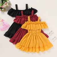Girls'dresses Polyester Sacs à dos Fêtes pour enfants Effets Couleur Balance Robe Bretels Enfants Vêtements de fille 1-5 ans