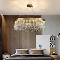 Candelabros redondos / ovalados / rectanglur araña para sala de estar dormitorio luces de cristal de cristal accesorio de cocina de tres capas iluminación de escaleras