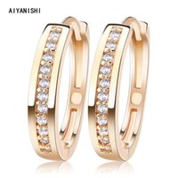 Hoop & Huggie AIYANISHI Real 925 Sterling Silver Classic Earrings Luxury Sona Diamond Climbing Fashion Simple Minimal Gifts