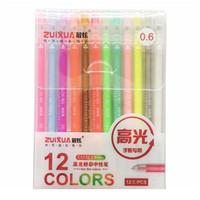 12 unids / caja 0.6mm color blanco gel pluma pluma resaltar forro boceto marcadores bolígrafos para niños escritura arte manga pintura escuela qylsji