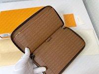 M60002 ORGANIZADOR DE ZIPPY Organizador Wallet Designer Mujeres Zip alrededor de largas carteras de lienzo Monedero monedero Planeario Verificación Titular de la tarjeta Bolsa Pochette Accessoires