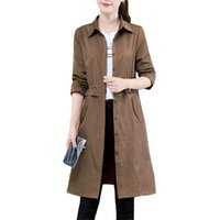 Women's Trench Coats Windbreaker Female Long Korean Spring Autumn Coat 2021 Women Shirt Fashion Womens Plus Size Brown Overcome F283