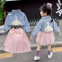 Clothing Sets Girls Clothes Set Kids Princess Spring Children Baby Infants Long Sleeve Dress+Cartoon Jeans Coats Outwear 2pcs Suits