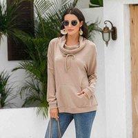 Женские толстовки толстовки осень сплошной цвет с длинным рукавом пуловеры одежда наполовину высокой шеи на шерке карманный офис леди повседневная уличная одежда Tops AVGZ