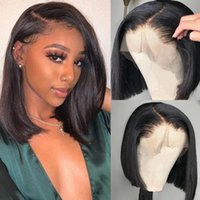 Lace Wigs Short Bob 13x4 Front Wig Straight Glueless Frontal Human Hair Brazilian Remy 4x4 Closure Pre Plucked Natural Color
