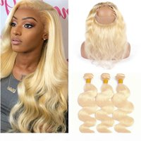 Paquetes rubios y 360 Cierre Body Wave Hair Weaves Pure 613 Virgin Bleach Blonde Brasileño Human Hair 2bundles con 360 Full Lace Frontal