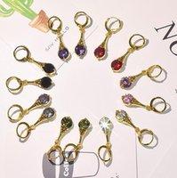 Clip-on JewelryClipon Tornillo Atrás Llegada Chapada en oro CZ Pendientes Cuelgan Pendientes para Lady Mujeres Colorido Cristal Piedra Clip en Pendiente Regalo Joyería