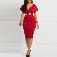 Clocolor Yaz Elbise Seksi V Boyun Tunik Yüksek Bel Boncuk Kısa Kollu Bayanlar Kırmızı Beyaz Bodycon Artı Boyutu Parti Kulübü Midi Elbise Y0118