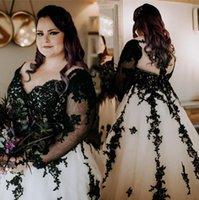 2021 Artı Boyutu Gelinlik Uzun Kollu Siyah Dantel Aplike Sevgiliye Boyun Çizgisi Tül Gotik Düğün Gelin Kıyafeti Vestido De Novia